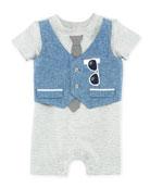 Mock-Vest Short-Sleeve Romper, Size 3-9 Months