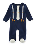 Mock-Suspenders Footed Coverall, Size 3-9 Months