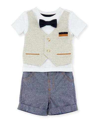 Mock-Vest Shirt w/ Shorts, Size 3-24 Months