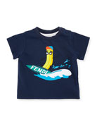 Surfing Banana Short-Sleeve T-Shirt, Navy, Size 12-24 Months