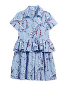 Floral-Print Collared Dress, Size 6-8