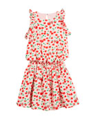 Cherry-Print Sleeveless Ruffle Dress, Size 10-12