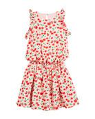 Cherry-Print Sleeveless Ruffle Dress, Size 10-12