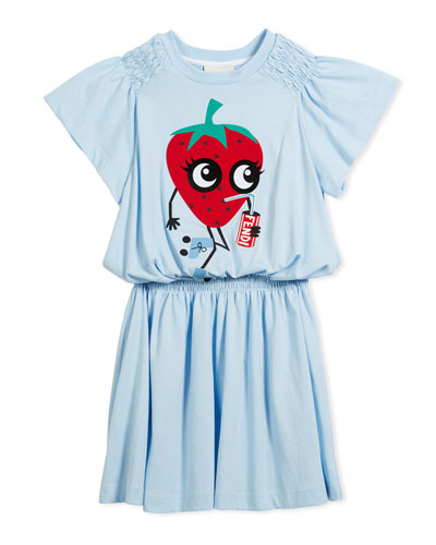 Shirred Strawberry Dress, Size 6-8