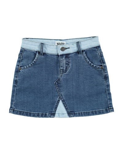 Bel Collage Denim Mini Skirt, Size 3T-14