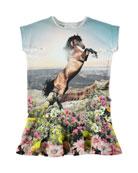 Caeley Short-Sleeve Mountain Horse Dress, Size 2T-12