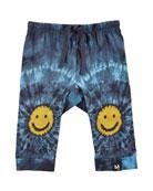 Sabble Tie-Dye Soft Pants w/ Smiley Face Knees, Size 6-24 Months