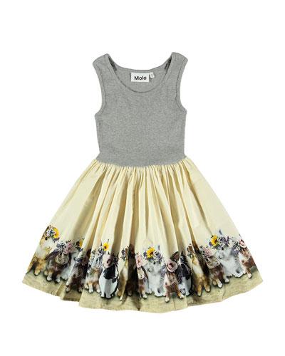Cassandra Sleeveless Dress w/ United Bunnies Skirt, Size 2T-12