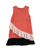 Calante Burnt Sienna Sleeveless Ruffle Dress, Size 3T-12