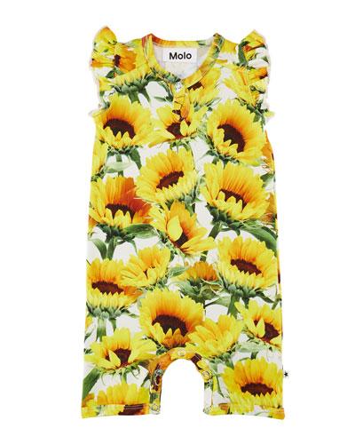 Faris Ruffle-Sleeve Sunflower Playsuit, Size 3-12 Months