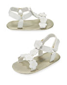 Faux-Leather Sandal w/ Flower Appliques, Baby