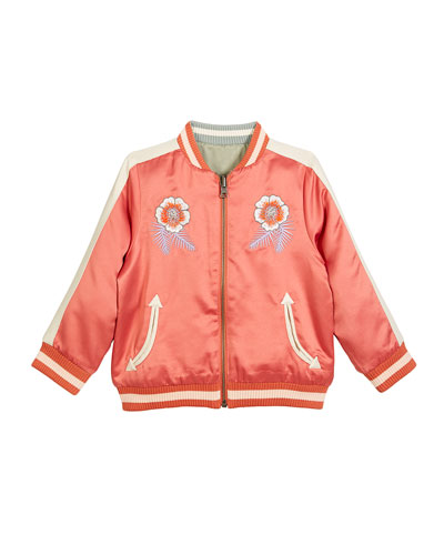 Willow Embroidered Reversible Bomber Jacket, Size 4-14