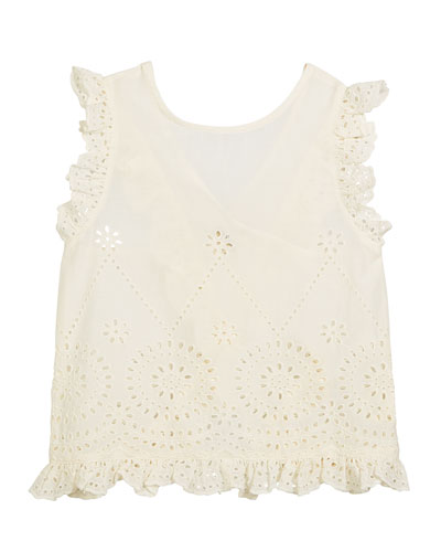Moss Cross-Back Eyelet Top, Size 4-14