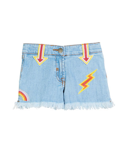 Marlin Patched Denim Shorts, Size 4-14