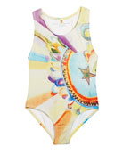 Marcie Watercolor-Print One-Piece Swimsuit, Size 4-14