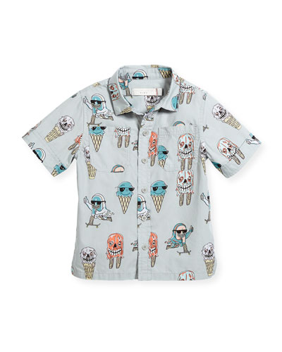 Rowan Ice Cream Monster-Print Button-Down Shirt, Size 12-36 Months