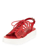 Flores Lace-Up Platform Sneakers w/ Floral Cutouts, Toddler/Kid