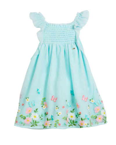 Floral Embroidered Tulle Dress, Size 12-36 Months