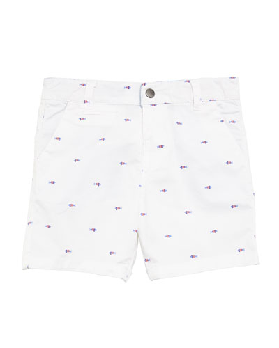Scattered Fish Cotton-Stretch Shorts, Size 12-36 Months