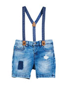 Distressed Denim Shorts w/ Suspenders, Size 12-36 Months