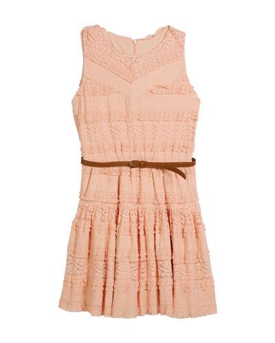 Knit Lace Sleeveless Dress w/ Belt, Size 8-16