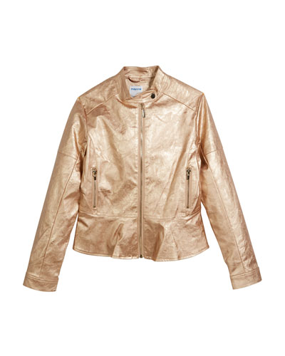 Metallic Peplum Faux-Leather Jacket, Size 8-16