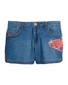 Flower Embroidered Denim Shorts, Size 8-16