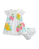 Fruit-Print Swiss Dot Bishop Dress w/ Bloomers, Size 2-12 Months