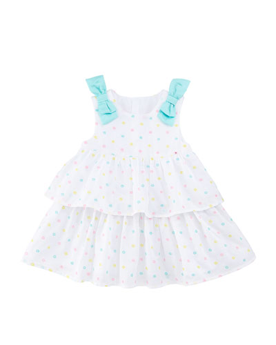 Embroidered Dots Tiered Dress w/ Bows, Size 2-12 Months