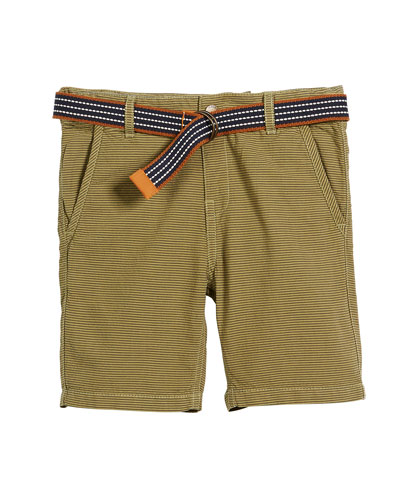 Striped Cotton Shorts w/ D Ring Belt, Size 4-7