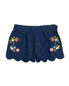 Embroidered Denim Scallop-Hem Shorts, Size 3-7