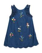 Denim Floral-Embroidered Dress, Size 3-7