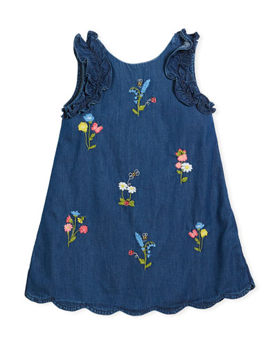 Denim Floral-Embroidered Dress, Size 3-7