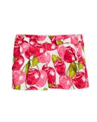 Pique Poplin Cherry-Print Shorts, Size 3-7