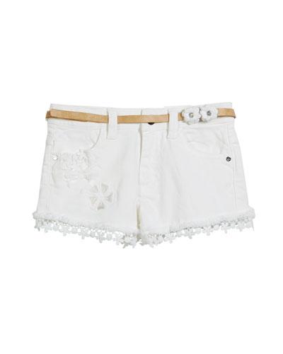 Denim Lace-Trim Shorts, Size 3-7