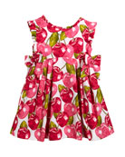 Cherry-Print Pique Dress, Size 3-7