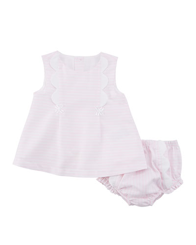 Stripe Scallop-Trim Dress w/ Matching Bloomers, Size 2-12 Months