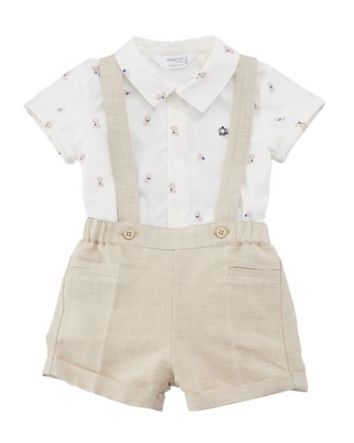 Puppy-Print Button-Down Shirt w/ Suspender Shorts, Size 2-12 Months