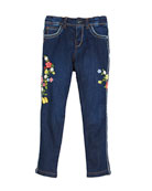 Floral Embroidered Denim Jeans, Size 12-36 Months