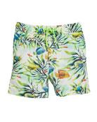 Fish-Print Swim Trunks, Size 3-7