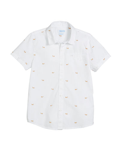 Short-Sleeve Woven Scattered Scooter Shirt, Size 4-7