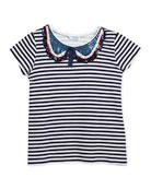 Short-Sleeve Striped T-Shirt w/ Sequin Peter Pan Collar, Size 8-14