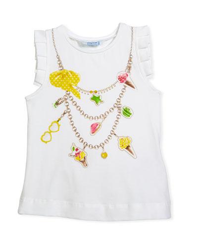 Ice Cream Necklace Trompe l'Oeil Tee, Size 3-7