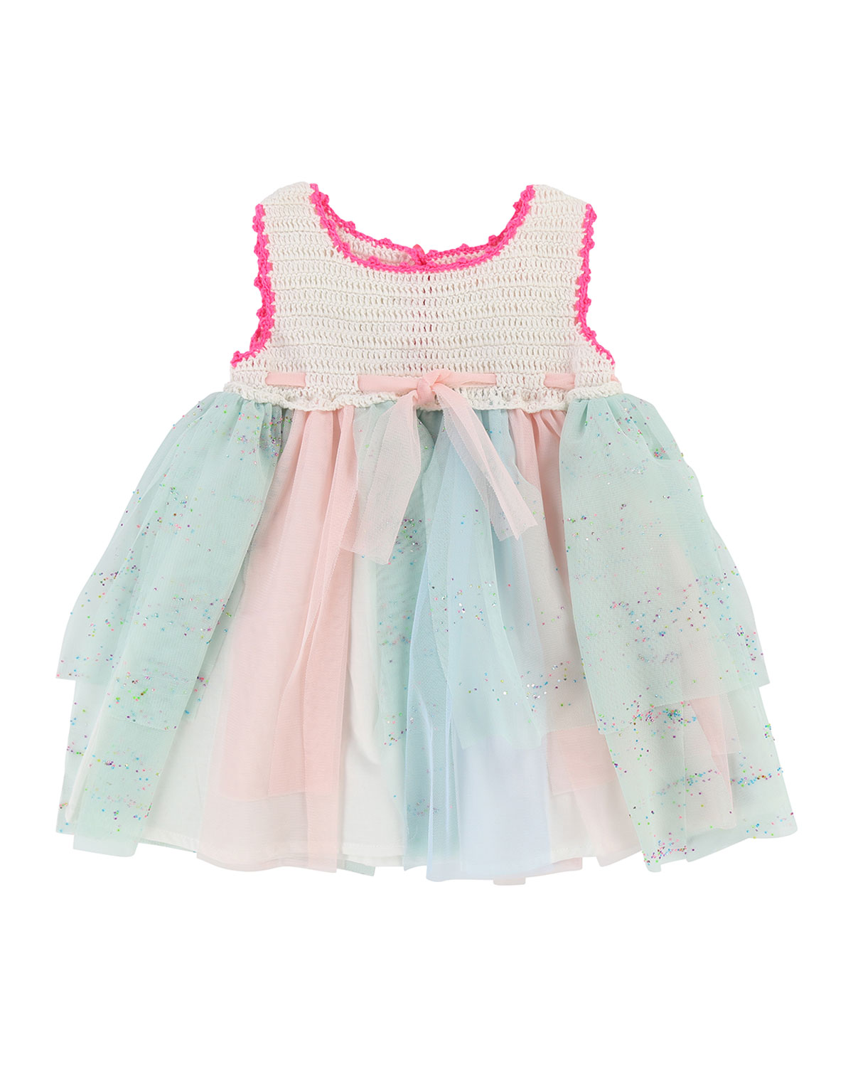 Crochet Dress w/ Glittered Tulle Skirt, Size 6-18 Months