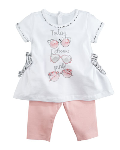 Today I Choose Pink Sunglass-Print Shirt w/ Leggings, Size 6-36 Months