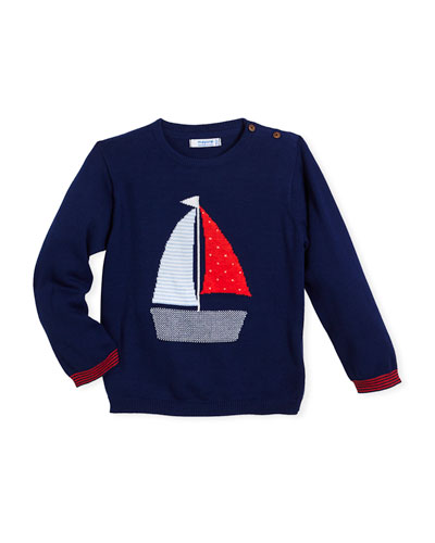 Long-Sleeve Sailboat Sweater, Size 12-36 Months