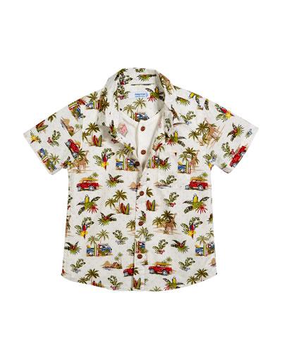 Short-Sleeve Jungle-Print Shirt w/ Henley Tee, Size 12-36 Months