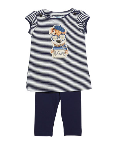 Stripe Hug Me Dog T-Shirt w/ Leggings, Size 3-7