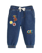 Lightweight Terry Denim Pants w/ Patches, Size 3-24 Months
