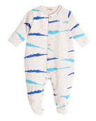 Wave-Print Footie Pajamas, Blue, Size 0-6 Months